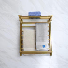 Gold Or White Color Stainless Steel Wall-mounted Bathroom Towel Rack Electric Heated Towel Warmer 9047