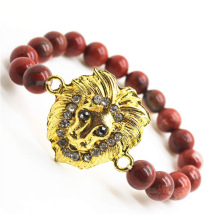 Red Jasper 8MM Round Beads Stretch Gemstone Bracelet with Diamante alloy Lion Head Piece