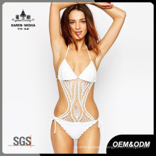 Latest Halter Neck Crochet One Piece Bathing Suit