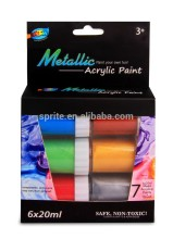 Non-toxic 6*20ml Manufacturer Metallic Pearl Acrylic Color Paint Box Packing