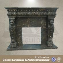 Manteau de cheminée noir, manteau de cheminée en marbre, manteaux de cheminée VFM-NB057A