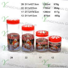 4PCS Glass Canister Set with Flower Plastic Lid and Kitchen Cooker Decal