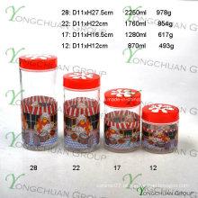 Conjunto de vidro 4PCS com tampa plástica da flor e decalque do fogão da cozinha