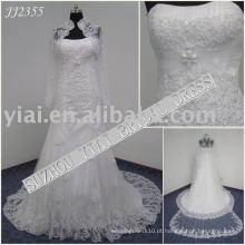2011 mais recente gota elegante shippiong frete estilo de vestido de bola livre 2011 enrolado vestido de noiva sereia de renda JJ2355