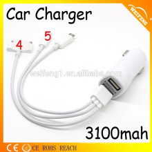 4 in 1 USB Cable For Mobile/ Dual USB Car Charger