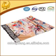 China Alta qualidade Seda Pashmina macia Sente Vários cor impressa Design Lenços Seda