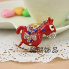 Creative Korea cute small Trojan exquisite pendant crystal horse Keychain colorful enamel keyring creative gifts