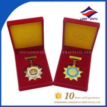 Concessão chinesa medalhas de honra militares personalizadas com caixas