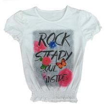 La muchacha de la moda embroma la camiseta de la flor de la ropa con la impresión Sgt-039