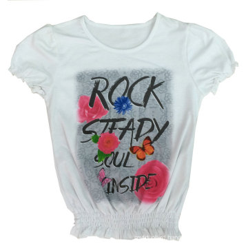Fashion Girl Kids Clothes Flower T-Shirt with Printing Sgt-039