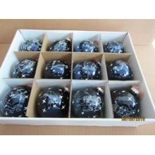 Set 12 Blue Glass Ball com Twelve Zodiac para o Natal
