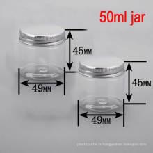 50ml Crème ronde pour le visage / le corps / Soin Alu Cap Clear Plastic Pet Jar