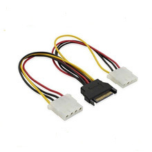 15pin Dual SATA to Molex Splitter 4pin Power Cable