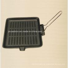 Quadrado, preseasoned, ferro fundido, frigideira, tamanho, 24x24cm