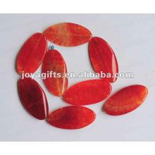 Perles d'olive d'agate rouge 50X25X6MM