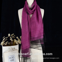 Double layer solid color wool silk reversible scarf accept OEM and ODM service