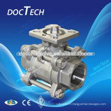 3pc haute plate-forme taraudage clapet à bille carbone acier: ASTM A216 WCB; CF8(SS304),CF8M(SS316);