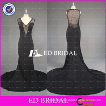 ED Bridal Elegant Sleeveless See Through Back Mermaid Beaded Black Evening Dress 2017