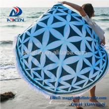 Les serviettes de plage rondes aztèques de forme de cercle imprimé par coutume / serviette de plage ronde molle Aztec