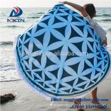 O costume imprimiu toalhas de praia redondas astecas da forma do círculo / asteca redondo macio de toalha de praia
