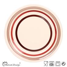 Assiette à dîner ronde en grès cérame peint à la main