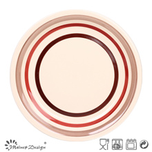 Handpainted Round Circle Stoneware Dinner Plate
