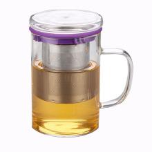 Coupe de thé en verre à filtre en acier inoxydable personnalisé pour cadeaux