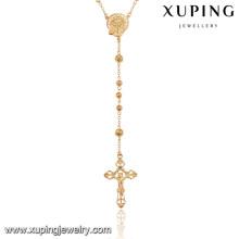 43062 Xuping bijoux fantaisie plaqué or croix religieuse chapelet 18 carats