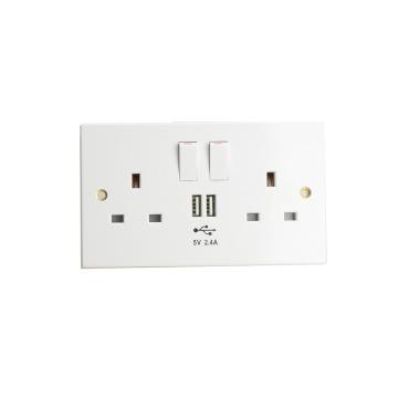 Double USB Wall Socket UK Plug