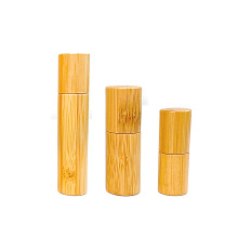 eco friendly travel 3ml 5ml 10ml bamboo roll on glass bottle for Essential Oils perfume with Stainless Steel Roller Ball