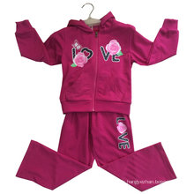 Flower Girl Cardigan Fleece Suit avec capuche en vêtements de sport pour enfants (SWG-121)