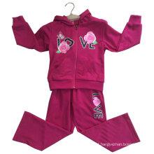 Terno do velo do casaco de lã da flor com a capa no desgaste do esporte da roupa das crianças (SWG-121)