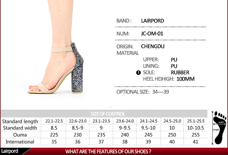 size of women high heel sandals