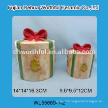 Christmas tree pattern ceramic container with bowknot lid