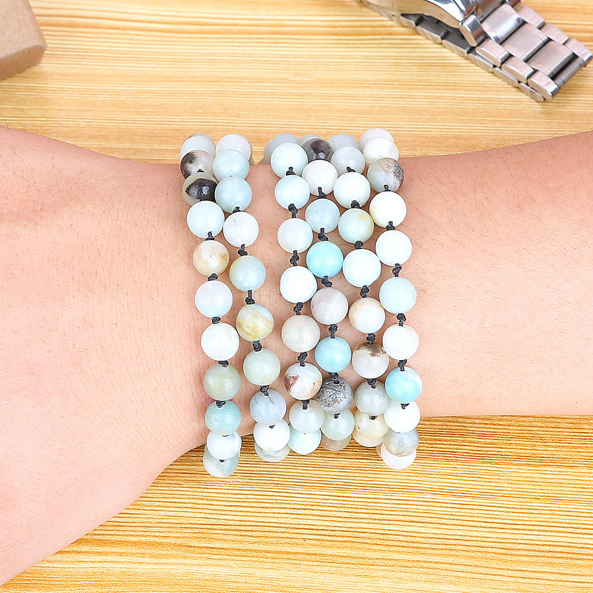 Natural Matte Amazonite Stones Endless Necklace