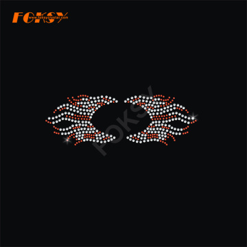 Fire Shaped Tailless Cheer Bow Heat Rhinestone Motif