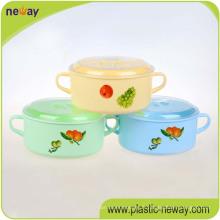 Ronde colorée professionnelle d'usine avec des récipients en plastique de boîte de nourriture de déjeuner de poignée pour des enfants