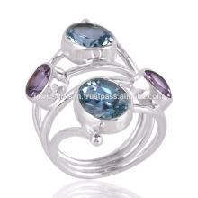 Blue Topaz & Amethyst Double anneau en pierre en argent sterling Unique Ring cadeau