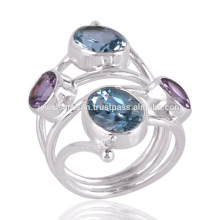 Blue Topaz & Amethyst Double Stone Ring in Sterling Silver Unique Gift Ring