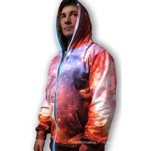 Sweat-shirt rose 3D galaxie s'allume