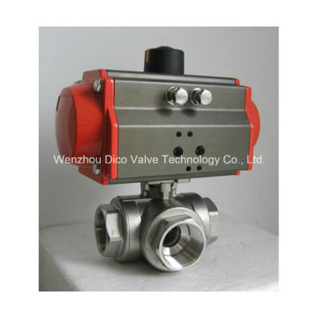 Pneumatic Actuator Three Way Ball Valve with ISO Mounting Pad