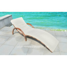 Outdoor Wicker Sun Bed Lounge with Wooden Arm