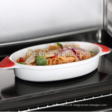 ceramic oval baking dish with silicone handle