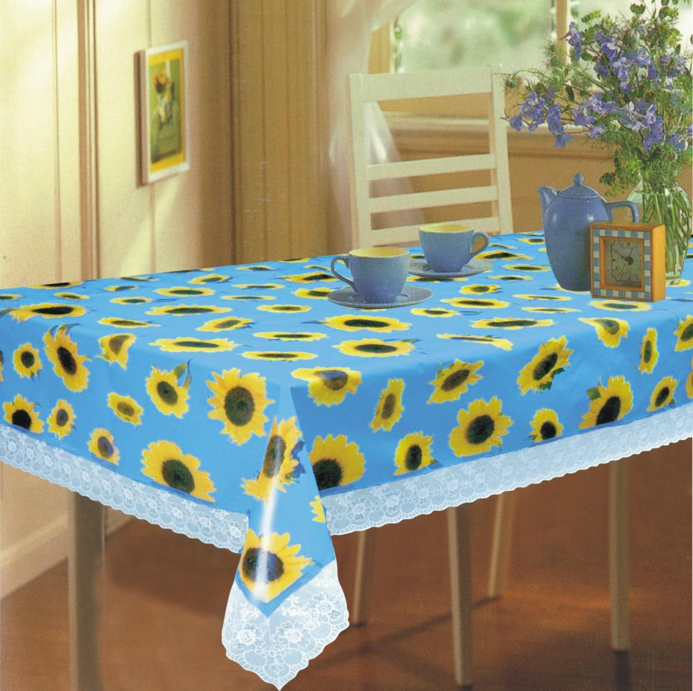 pvc tnt table cloth with 3 lace