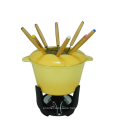 Yellow Enamel Cast Iron Fondue Set for hot pot