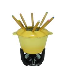 Fondue de hierro fundido esmaltado amarillo para olla caliente