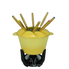 Fondue amarelo do ferro fundido do esmalte ajustado para o potenciômetro quente