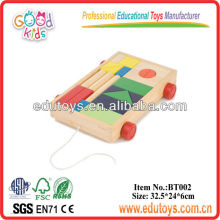 Bamboo Pull Along Building Blocks Car Toy