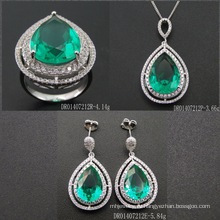 Luxury Sterling Silver Drop Shape Green Spinel Set