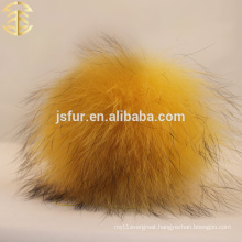 New Arrival Genuine Fur Accessories Fur Pom Poms Wholesale Yellow Raccoon Genuine Fur Fluffy 12cm Ball Keychain